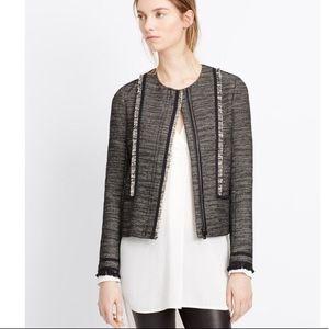 NWOT Vince tweed leather trim jacket